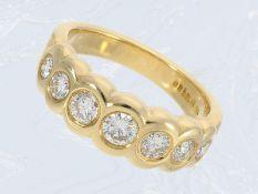 Ring: massiver, außergewöhnlicher Halbmemoire-Ring mit 1ct Brillanten, ehemals teure HandarbeitCa.