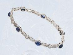 Armband: attraktives Weißgoldarmband mit Saphiren und Brillanten, insgesamt ca. 5,95ct, 14K