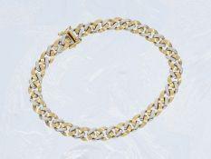 Armband: massives, modernes Bicolor-Goldschmiedearmband aus 14K Gold, ungetragenCa. 19cm lang, ca.