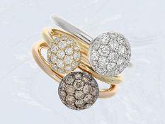 Ring: kreative Designer-Goldschmiedearbeit mit weißen und braunen Brillanten, Handarbeit in 18K