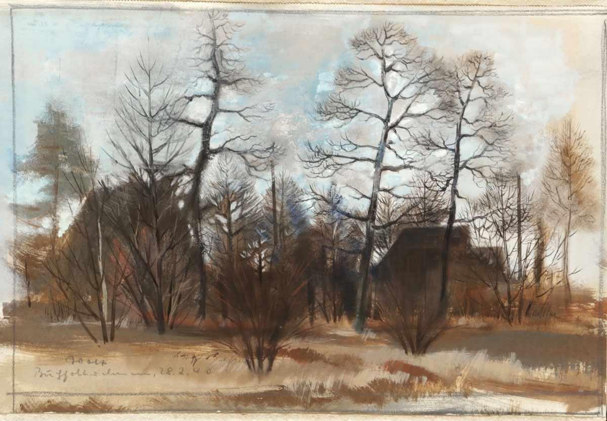Lot 49 - Künstler des 20. Jahrhunderts- Winterlandschaft - Tempera/Papier. 24,5 x 37 cm. Undeutl. bez. und
