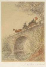 """Lot 57 - Künstler des 20. Jahrhunderts- """"Brücke mit Pferdekutsche"""" - Kolorierte Lithografie/Papier. 21,1 x 15"""
