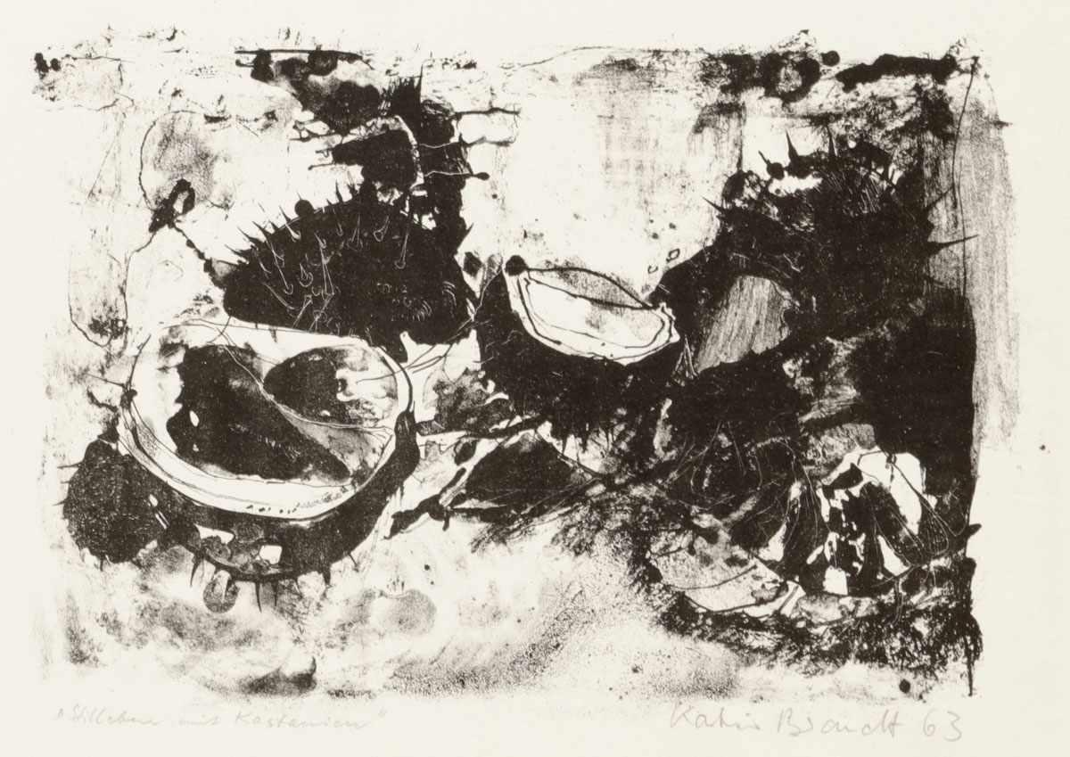 """Lot 4 - Katrin Beck-Brandt1942 Bad Homburg - """"Stillleben mit Kastanien"""" - Lithografie/Papier. 18 x 25 cm,"""