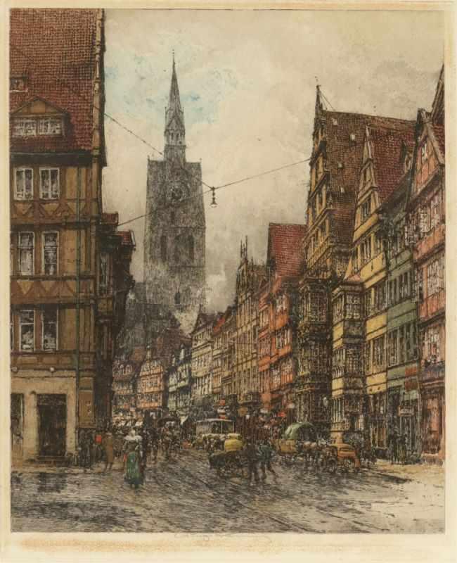Lot 37 - Luigi Kasimir1881 Pettau - 1962 Wien - Hannover - Schmiedestraße - Farbradierung/Papier. 53,2 x 43,2