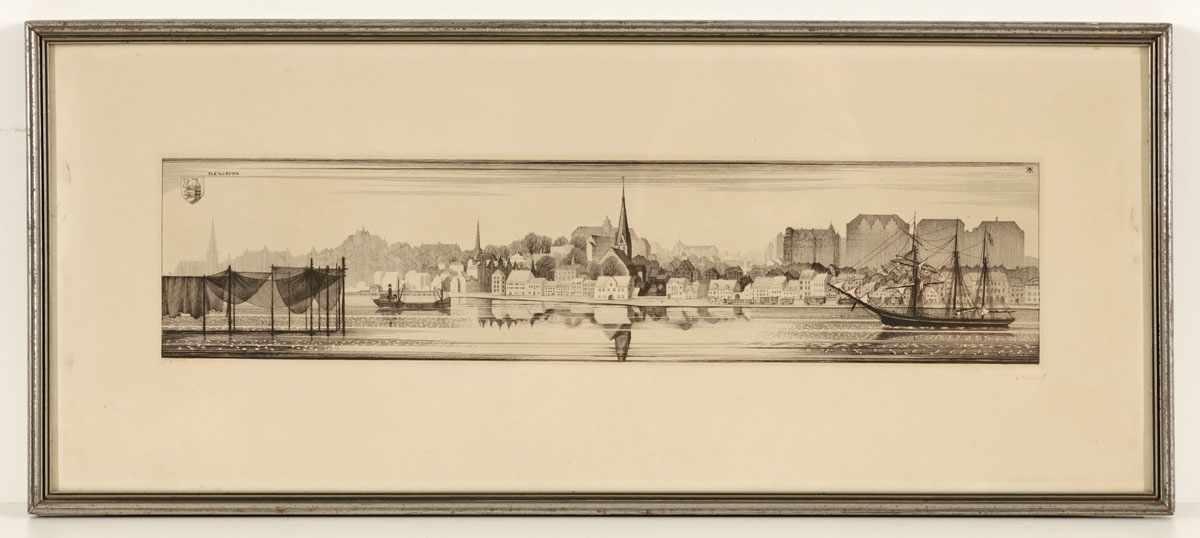 """Lot 16 - Alexander Friedrich1895 Hamburg - 1968 Hamburg - """"Flensburg"""" - Kupferstich/Papier. 11,2 x 49,4 cm,"""