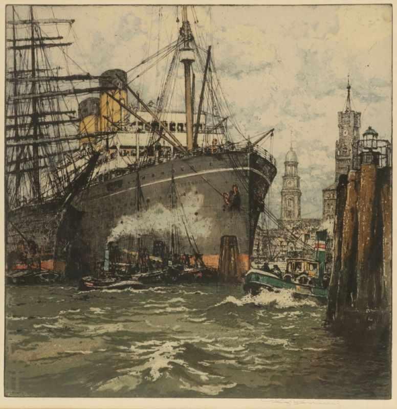Lot 38 - Luigi Kasimir1881 Pettau - 1962 Wien - Hamburger Hafen - Farbradierung/Papier. 42 x 41,3 cm, 57 x