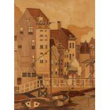 Lot 45 - Günter KnauerKünstler des 20. Jahrhunderts - Hafengegend - Intarsienarbeit. 39 x 31,7 cm. Rückseitig