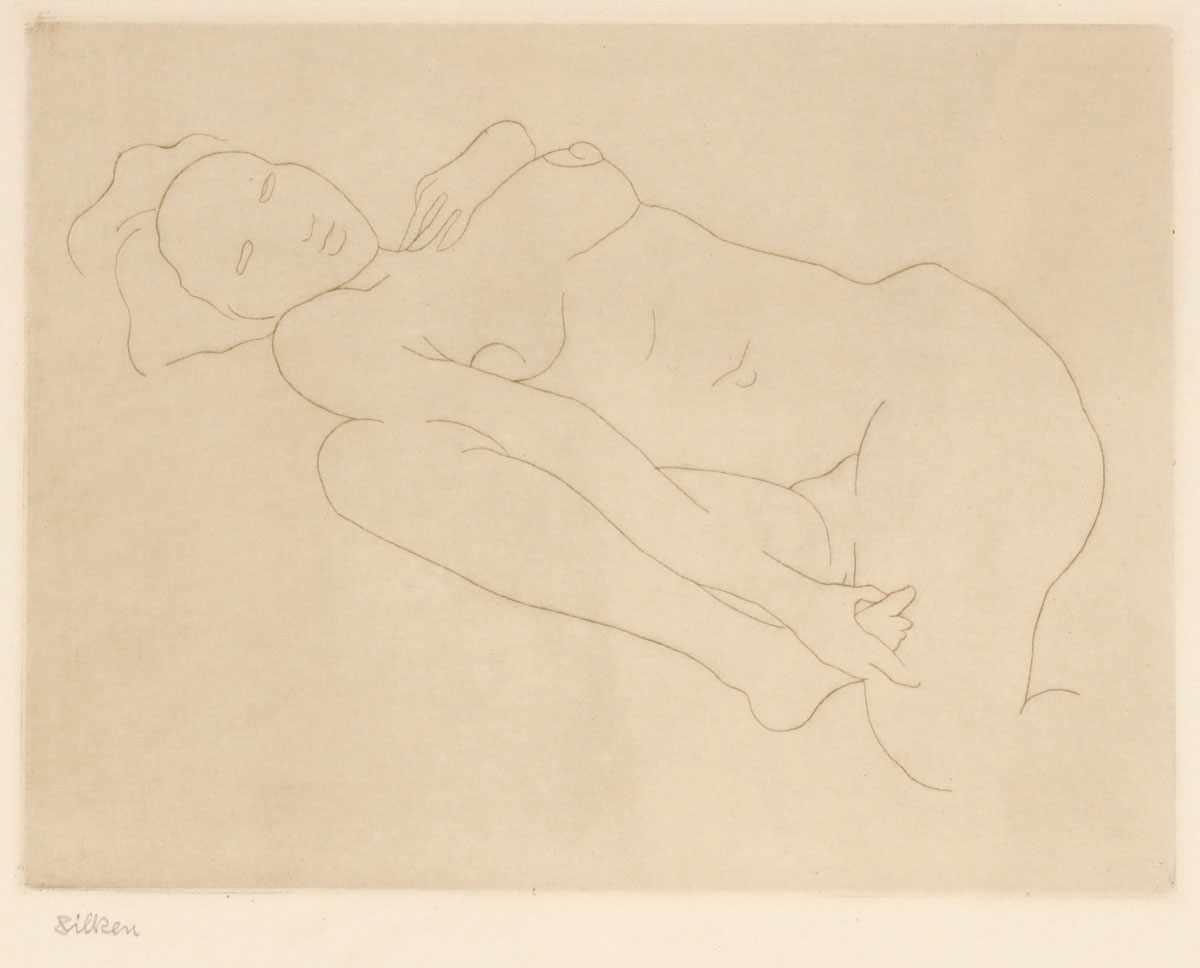 Lot 56 - Künstler des 20. Jahrhunderts- Liegender weiblicher Akt - Radierung/Papier. 15,5 x 20,4 cm, 26,8 x