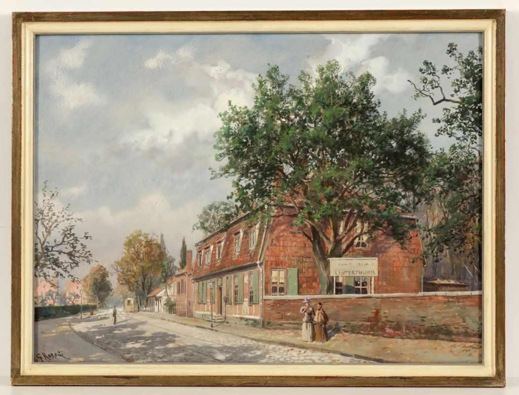 """Lot 46 - Gustav Koken1850 Hannover - 1910 - """"Listerthurm"""" - Gouache/Papier. 45,5 x 62 cm. Sign. l. u.: G."""