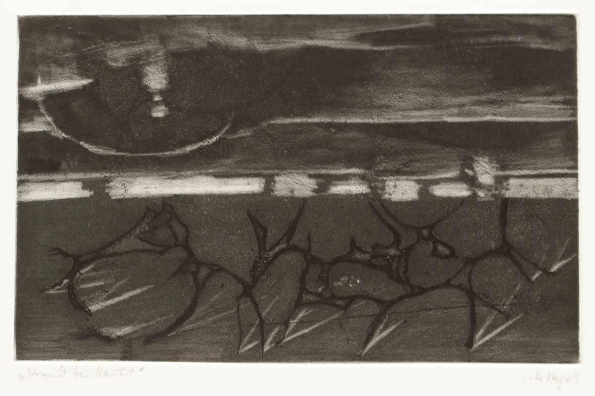 """Lot 39 - Olaf KayKünstler des 20. Jahrhunderts - """"Strand bei Nacht"""" - Radierung/Papier. 13,2 x 22 cm, 47,3"""