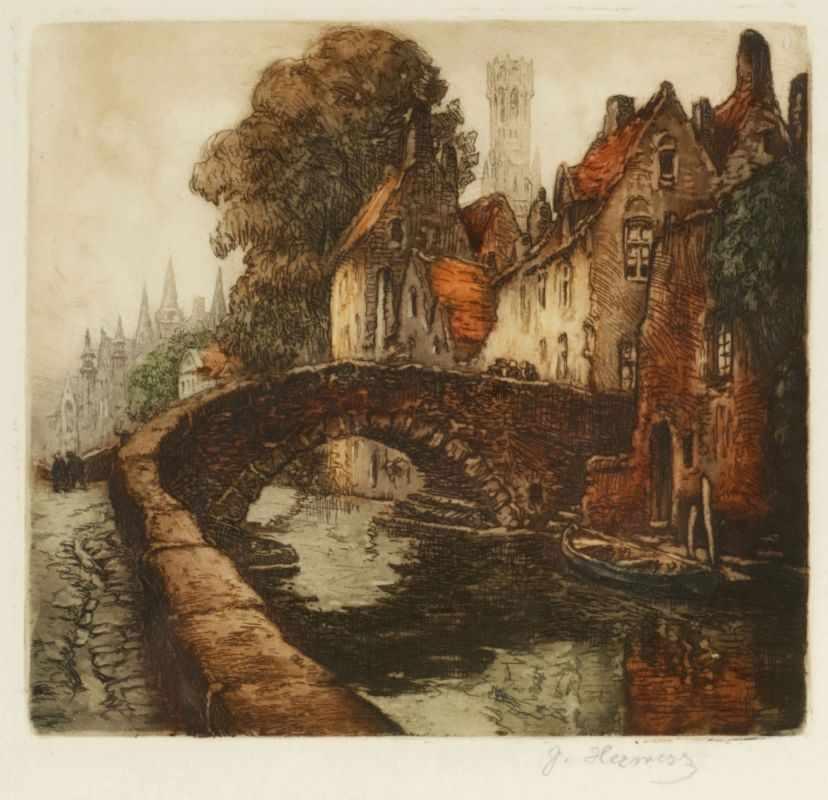 Lot 29 - Jacques Hervens1890 - 1928 - Alte Brücke - Farbradierung/Papier. 16,5 x 17,8 cm, 40 x 30,7 cm. Sign.