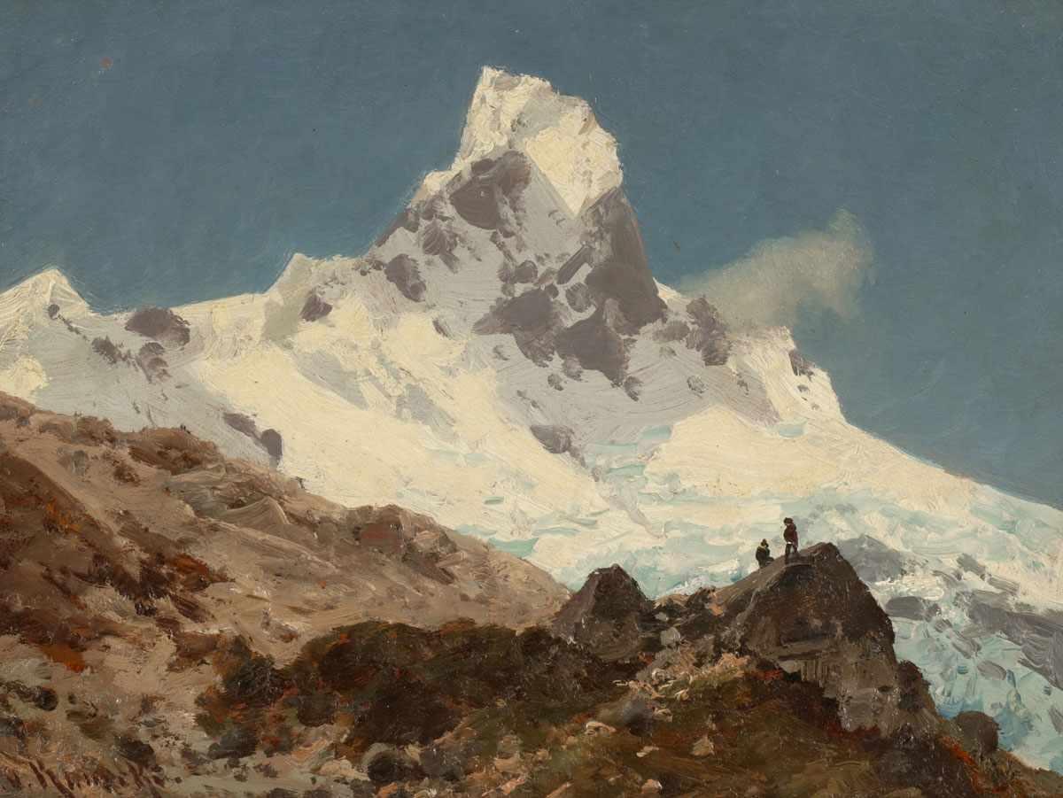"Lot 33 - Otto von Kameke1826 Stolp - 1899 Berlin - ""Matterhorn"" - Öl/Hartfaser. 21,5 x 28,5 cm. Sign. l."