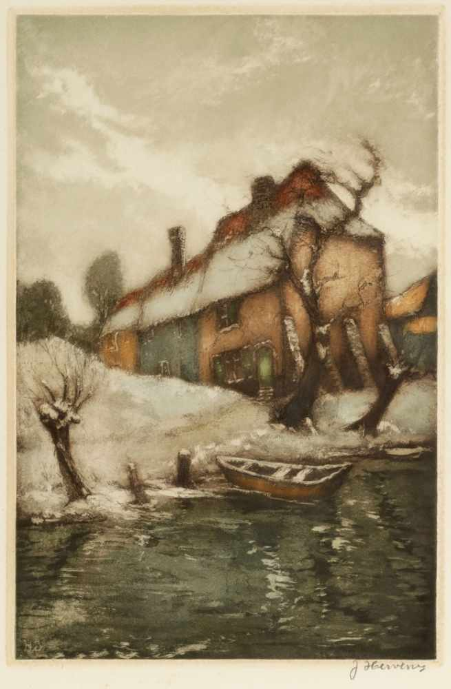 Lot 28 - Jacques Hervens1890 - 1928 - Haus am Weiher - Farbradierung/Papier. 32 x 21,1 cm, 49 x 36,3 cm.