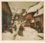 Lot 27 - Jacques Hervens1890 - 1928 - Dorfstraße - Farbradierung/Papier. 18 x 19 cm, 39,8 x 30,8 cm. Sign. r.