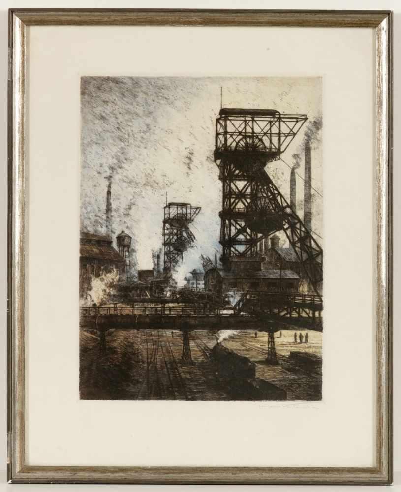 "Lot 44 - Hans Klemke1892 Berlin - 1960 Berlin - ""Zechenbetrieb"" - Kolorierte Radierung/Papier. 39 x 29 cm, 53"