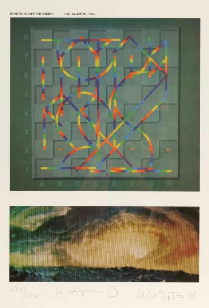 "Lot 14 - Ugo Dossi1943 München - ""Zeittransparent 2"" - Farboffset/Papier. 233/250. 42,5 x 30 cm, 59,4 x 39,"