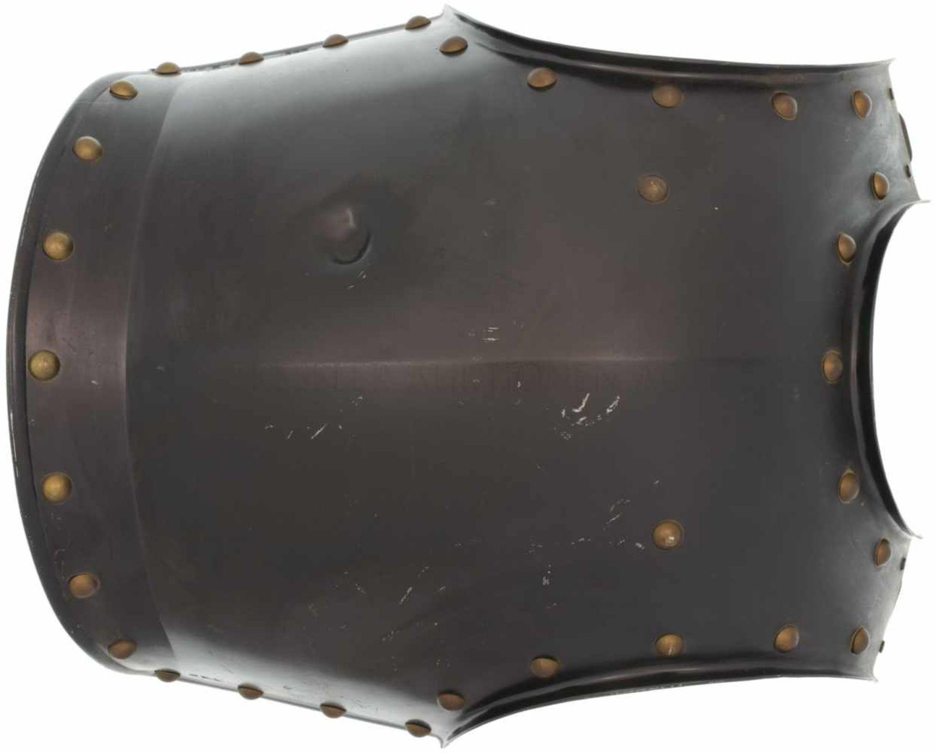 Brustschild eines Mannschaftskürass, KRUPP, Preusen um 1845 Schwarz lackierter stählerner