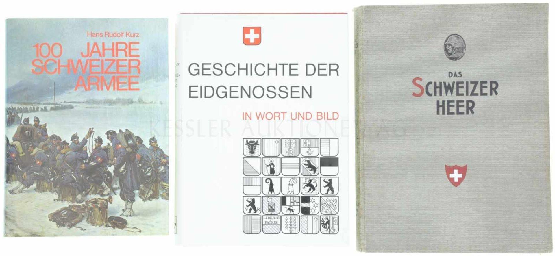 Konvolut von 3 Büchern 1. 100 Jahre Schweizer Armee, Autor Hans Rudolf Kurz, Ott Verlag Thun, 2.