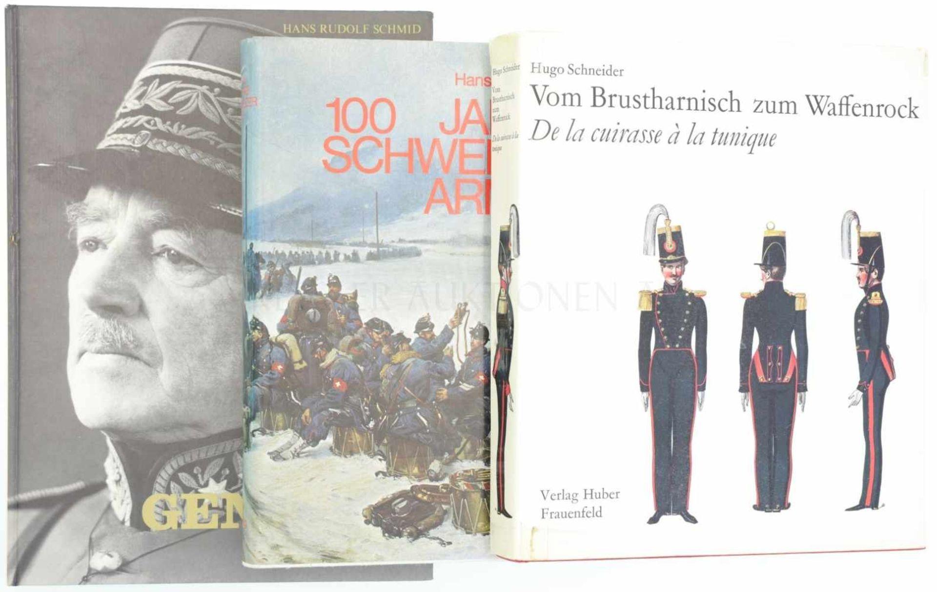 Konvolut von 3 Büchern 1. 100 Jahre Schweizer Armee, Ausg. 1978 Ott Verlag Thun. 2. Vom