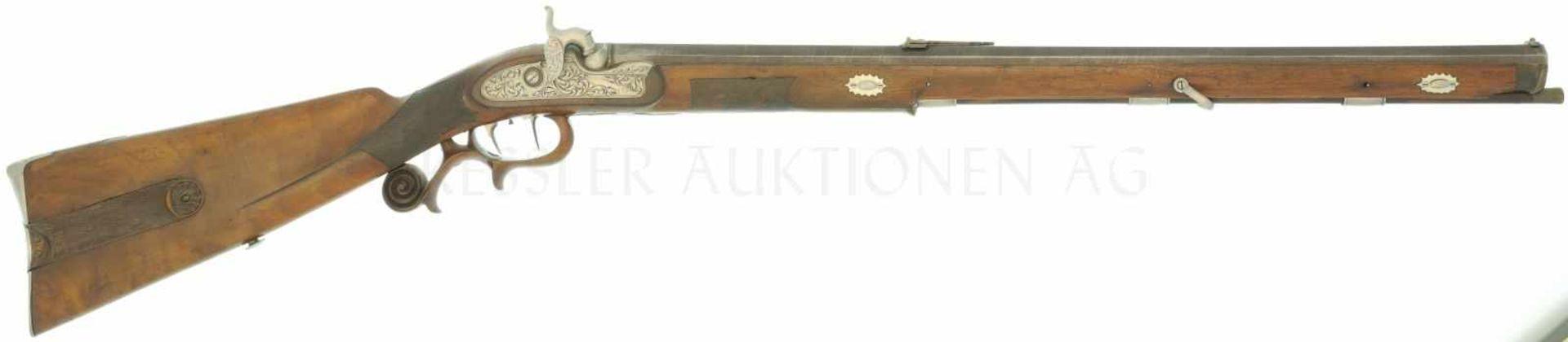 Jägerstutzen, Rieger in München, Perkussionszündung, Kal. 14mm LL 620mm, TL 1035mm, brünierter