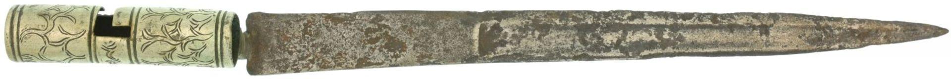Tüllenbajonett, jagdlich, 18. Jahrhundert KL 320mm, TL 420mm, Klinge mit beidseitigem Hohlschliff,