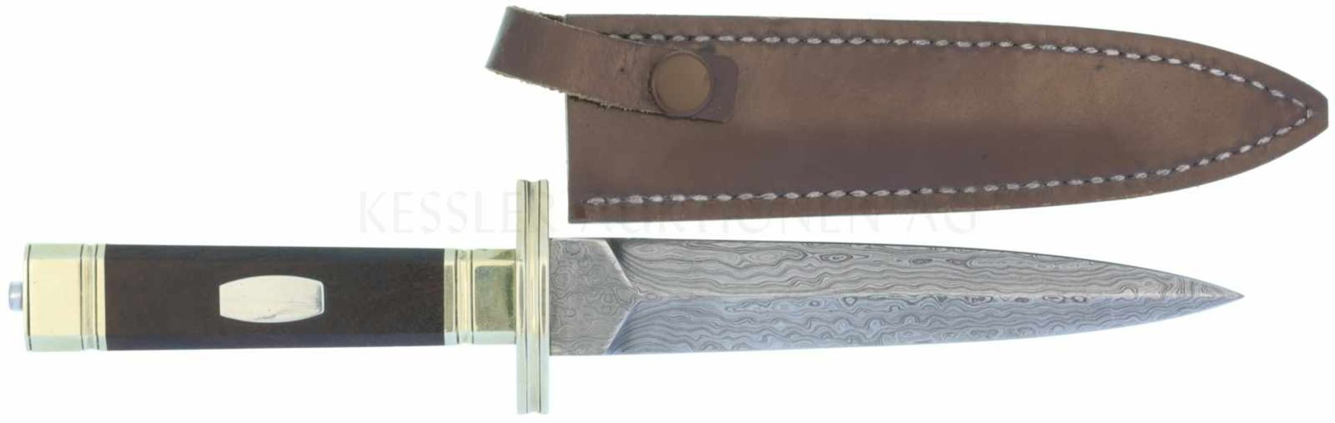 Dolch Empire Stil, Historismus-Anfertigung KL 135mm, TL 245mm, zweischneidige Damastklinge mit