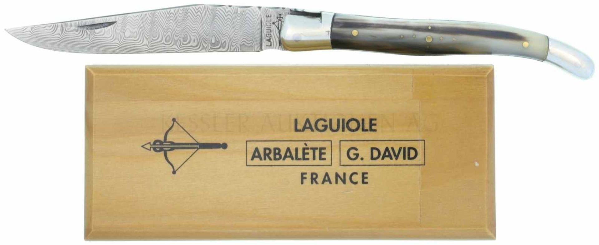 Los 48 - Messer LaGuiole, G.David L'Arbalete, Damast KL 102mm, TL 220mm, geschmiedete Damastklinge, an der