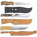 Konvolut von 3 Messern 1. Finnenmesser von J.Martiini, KL 138mm, TL 260mm, Rückenklinge in Tantoform