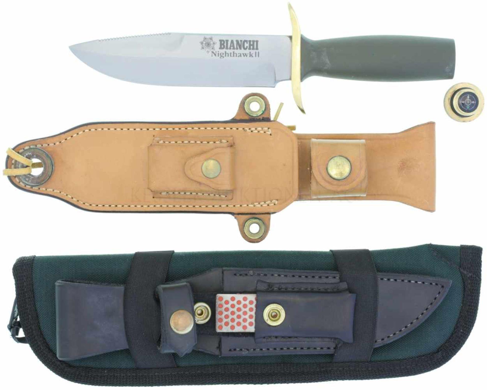 Survival-Messer Bianchi Nighthawk II KL 150mm, TL 285mm, glasperlengestrahlte matte Rückenklinge mit
