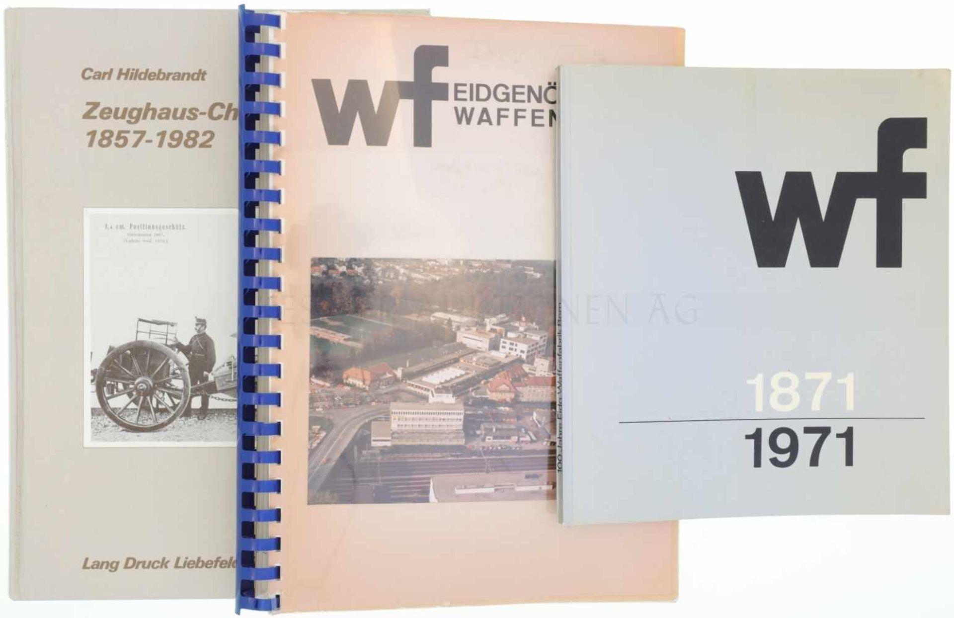 Konvolut von 3 Büchern 1. wf, 100 Jahre Eidgenössische Waffenfabrik Bern, 1871-1971. Sehr spannendes