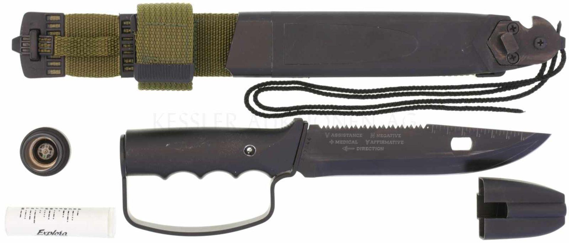 Überlebensmesser Marto Explora Survival KL 170mm, TL 303mm, brünierte Sägerückenklinge mit
