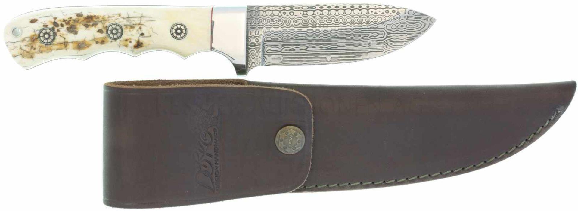 Jagdmesser Dorko Ungarn KL 98mm, TL 218mm, Klinge aus aufwendigem Mosaikdamast, Backen aus