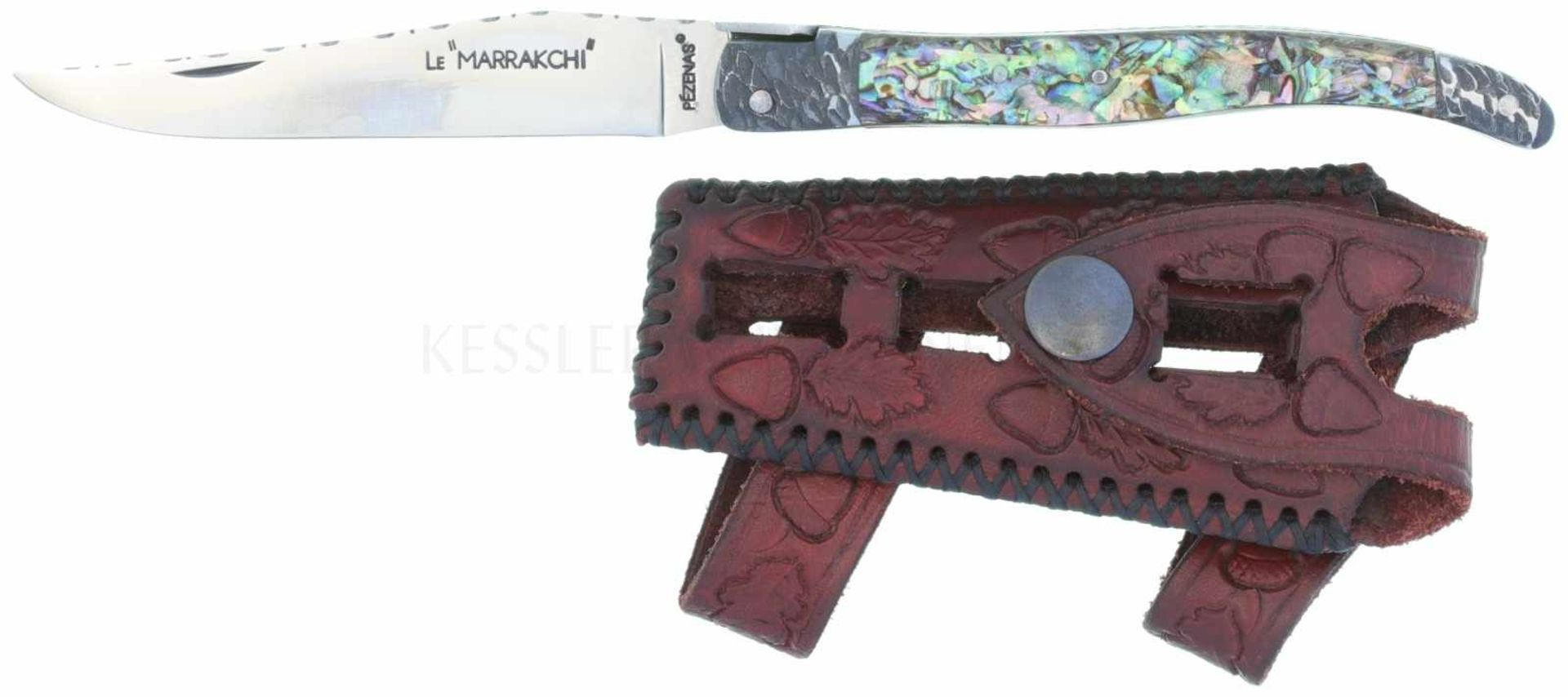 "Los 47 - Messer, La Guiole, ""Le Marrakchi"" KL 100mm, TL 216mm, polierte Klinge, Rücken mit Zierfeilungen,"