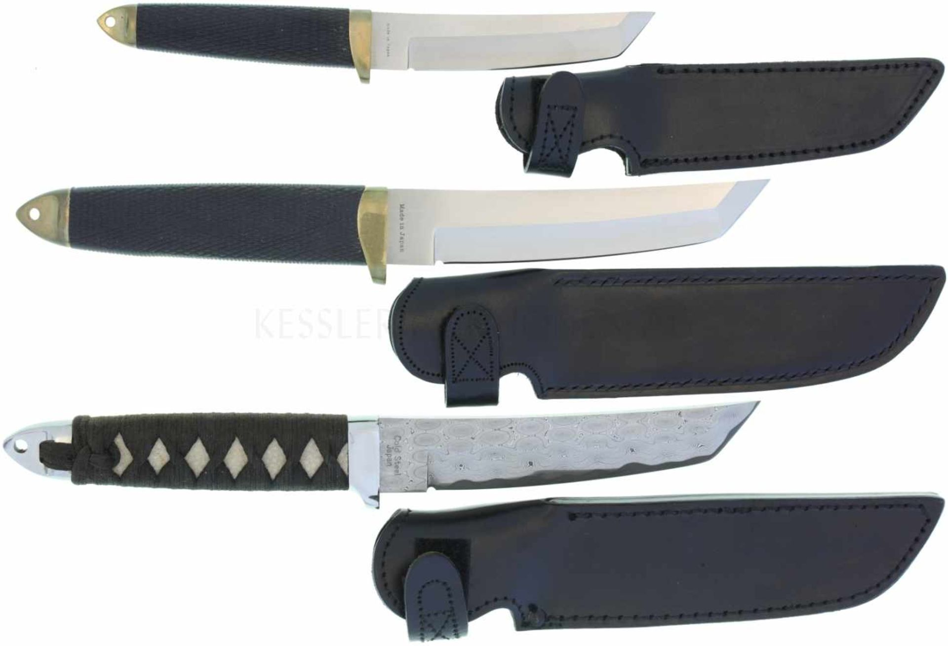 Konvolut 3 Cold Steel Tanto 1. KL 147mm, TL 280mm, Imperial Tanto, Klinge aus gefaltetem Stahl mit