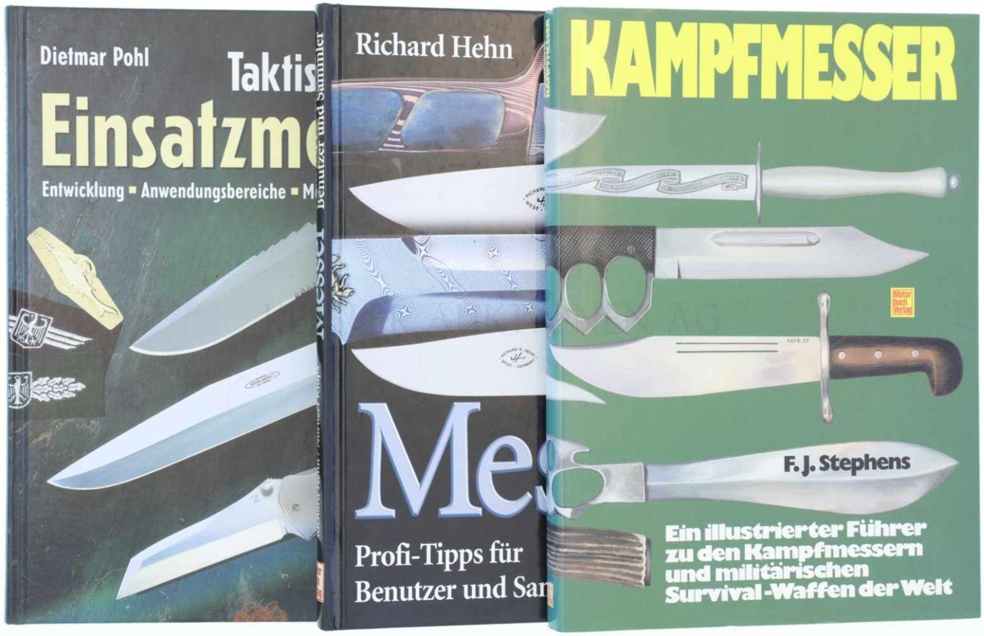 Konvolut von 3 Messer-Büchern 1. Kampfmesser, F.J.Stephens, Illustrierter Führer zu den Kampfmessern
