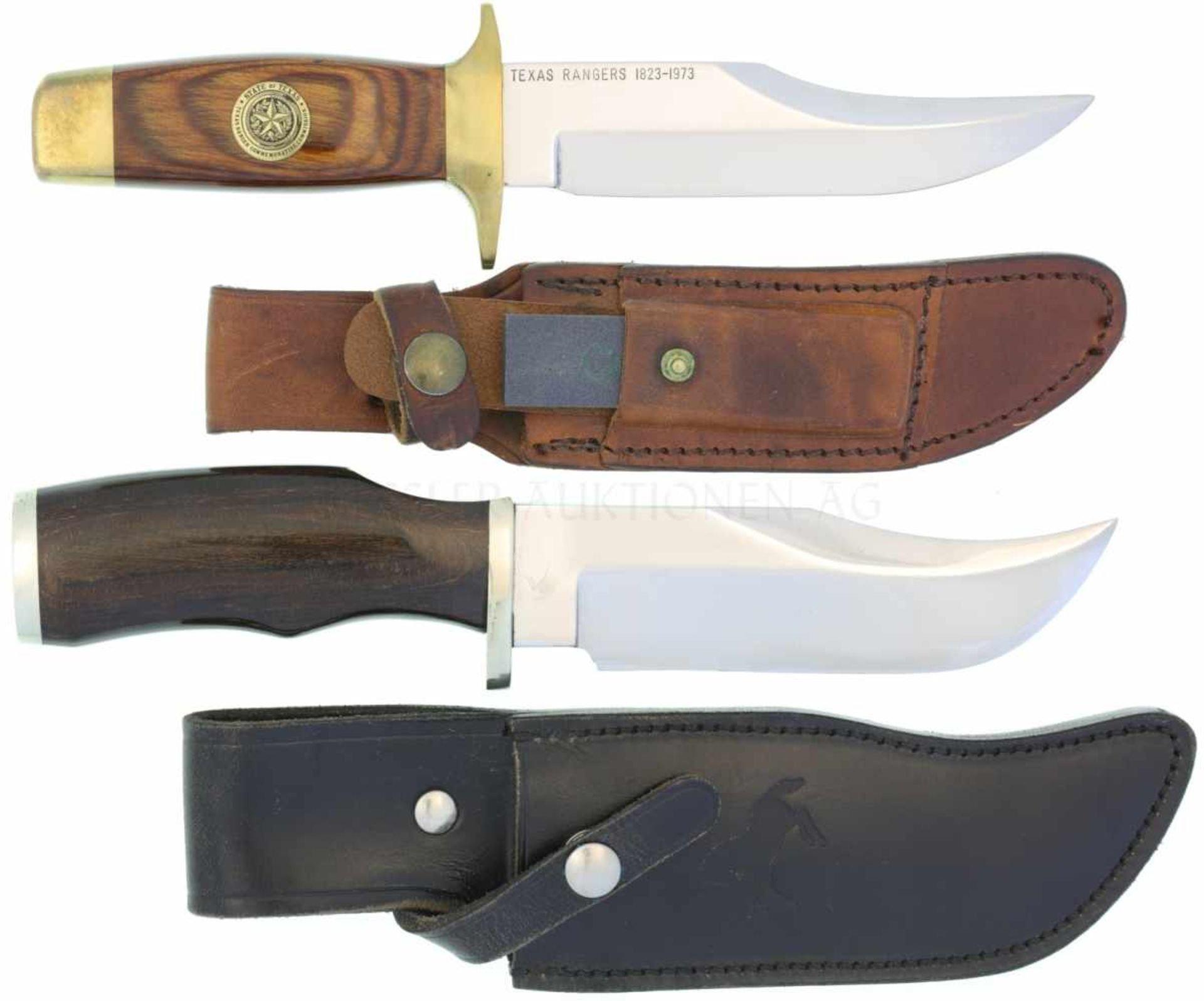 """Konvolut von 2 Sammler-Messern 1. S&W Bowie, KL 147mm TL 261mm, """"Texas Rangers 1823-1973"""","""