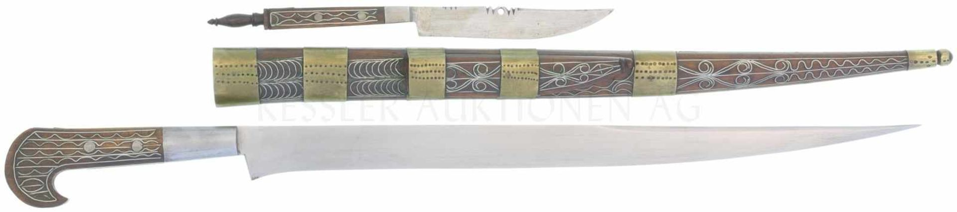 Osmanisch-türkischer Bichak, um 1870 KL 357mm, TL 475mm gerade Rückemklinge mit leichter