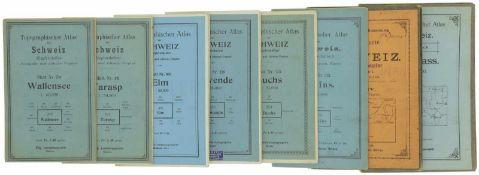 Konvolut von 8 Topographischen Karten der Schweiz 1. Topographische Karte, 1:50'000, Blatt Nr.
