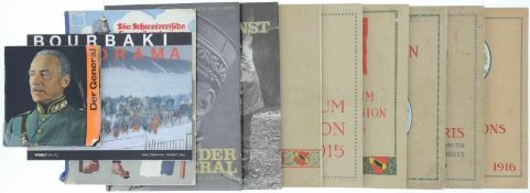 Konvolut 8 Bücher und 3 Alben 1. General Henri Guisan und das eidgenössiche Volk, Zeitschriften-