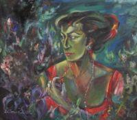 """Gemälde - Otto Sammer (1914 Schwabach - 2004 Passau) """"Bildnis der Ellen Raith"""", r.u. Monogramm,"""