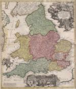 """Karte England - Johann Baptist Homan (1664 Oberkammlach - 1724 Nürnberg) 18.Jahrhundert, """"Magnae"""
