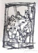 """Lithographie - Josef Achmann (1885 Regensburg - 1958 Schliersee) """"Das letzte Abendmahl"""", r.u."""