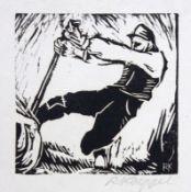 "Holzschnitt - Reinhold Koeppel (1887 Oschersleben - 1950 Waldhäuser (Bayer.Wald)) ""Baumarbeiter"","