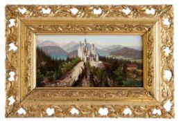 """Gemälde - Hubert Sattler (1817 Salzburg - 1904 Wien) """"Ideallandschaft mit Schloss Neuschwanstein des"""