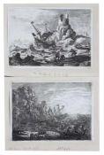 """Paar Radierungen - Claude LE LORRAIN (1600 Chamagne -1682 Rom) """"Der Sturm - Der Schiffbruch"""", Maße"""