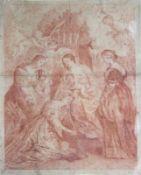 """Rötelzeichnung - wohl flämische Schule 17. Jahrhundert """"Thronende Maria mit dem Christkind, im"""