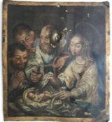 """Gemälde - wohl alpenländisch 18.Jahrhundert """"Geburt Christi"""", anonymer Künstler, Öl auf Bronze,"""