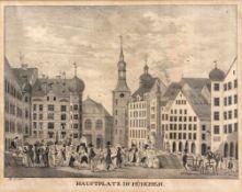 """Lithographie - Johann Baptist Dilger (1814 München 1847) """"Hauptplatz in München"""", Maße Darstellung"""