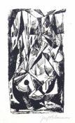 """Lithographie- Josef Achmann (1885 Regensburg - 1958 Schliersee) """"kubistische Regensburger"""