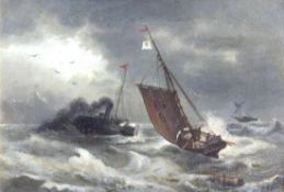 """Gemälde - wohl Skandinavien um 1900 """"Stürmische See mit Raddampfer und Segelbooten"""", r.u. undeutlich"""